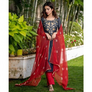 Beautiful Blue Color Suit With Nazmin Dupatta