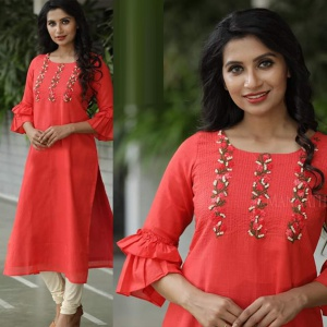 Embroidery Worked Orange Color Kurti